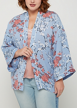 Plus Light Blue Blossom Sleep Kimono