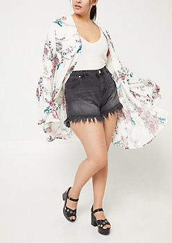 Plus Ivory Piped Bell Sleeve Floral Kimono