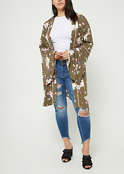 Plus Olive Piped Bell Sleeve Floral Kimono