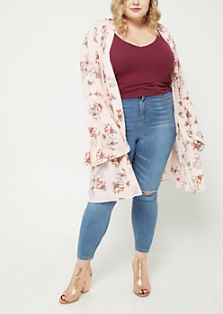 Plus Pink Piped Bell Sleeve Floral Kimono