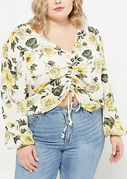 Plus Ivory Floral Cinched Front Blouse