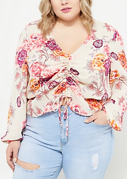 Plus Taupe Floral Cinched Front Blouse