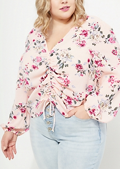 Plus Pink Floral Cinched Front Blouse