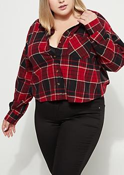 Plus Red Plaid Print Flannel Crop Top