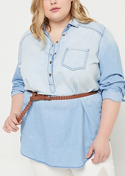 Plus Denim Belted Tunic