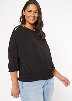 Plus Black Lattice Shoulder Top