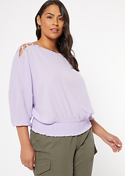 Plus Lavender Lattice Shoulder Top