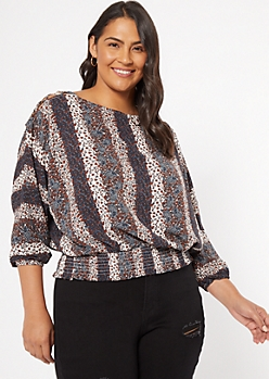 Plus Navy Striped Floral Print Lattice Shoulder Top