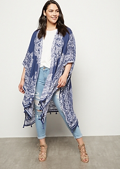 Plus Blue Abstract Floral Print Tassel Kimono
