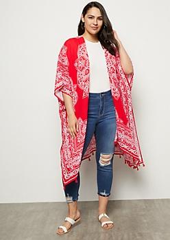 Plus Red Absract Floral Print Tassel Kimono