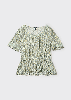 Plus Mint Ditsy Floral Print Puff Sleeve Peplum Top