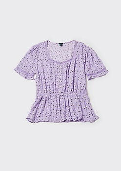 Plus Lavender Ditsy Floral Print Puff Sleeve Peplum Top