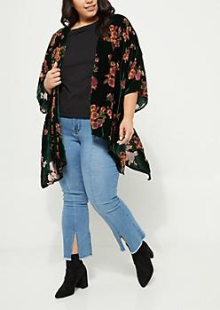 Plus Teal Floral Mesh Kimono
