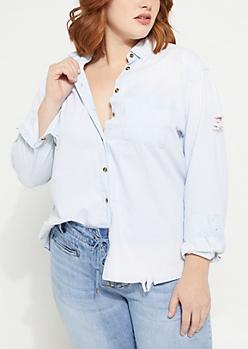 Plus Light Blue Destroyed Denim Shirt