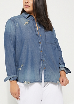 Plus Medium Blue Destroyed Denim Shirt
