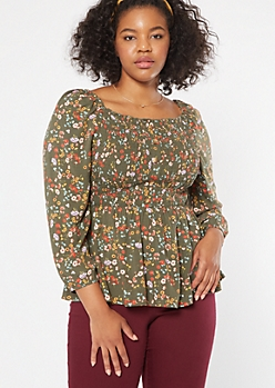 Plus Olive Floral Print Smocked Peplum Top