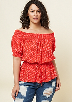 Plus Red Paisley Print Corset Top