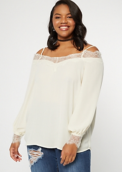 Plus Ivory Eyelash Lace Cold Shoulder Blouse