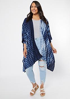 Plus Navy Tie Dye Draped Kimono