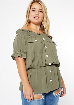 Plus Olive Off The Shoulder Cinched Peplum Top
