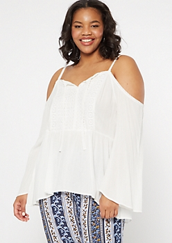 Plus Ivory Cold Shoulder Bell Sleeve Top
