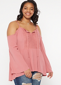 Plus Pink Cold Shoulder Bell Sleeve Top