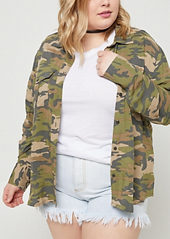 Plus Camo & Floral Embroidered Utility Top