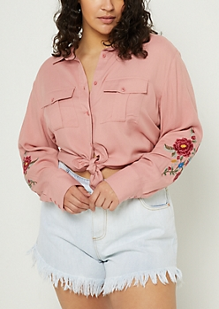 Plus Pink Embroidered Button Down Shirt