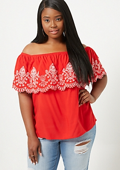 Plus Red Border Embroidered Off The Shoulder Top
