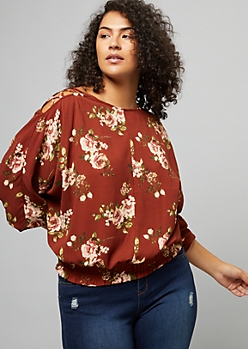 Plus Burnt Orange Floral Print Lattice Shoulder Smocked Top