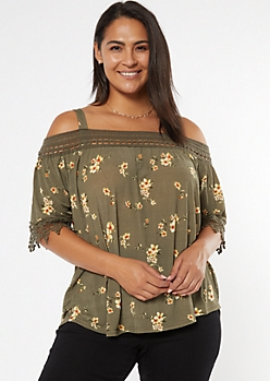 Plus Olive Floral Print Off The Shoulder Crochet Top