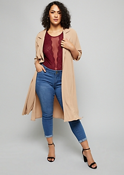 Plus Taupe Crepe Trench Coat Duster