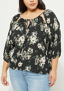 Plus Floral Cutout Cold Shoulder Blouse