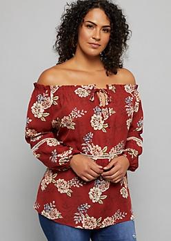 Plus Burnt Orange Floral Print Crochet Off the Shoulder Blouse