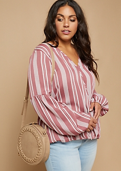 Plus Pink Striped Pattern Bubble Sleeve Blouse