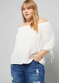 Plus Ivory Three Quarter Sleeve Off The Shoulder Top