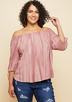 Plus Washed Pink Elbow Sleeve Off Shoulder Top