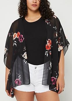 Plus Black Floral Print Chiffon Kimono
