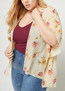 Plus Ivory Floral Print Chiffon Kimono