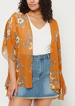Plus Orange Floral Print Chiffon Kimono