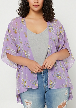 Plus Purple Floral Print Chiffon Kimono