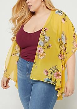 Plus Yellow Floral Print Chiffon Kimono