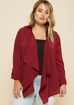Plus Red Rolled Tab Sleeves Crepe Lightweight Blazer
