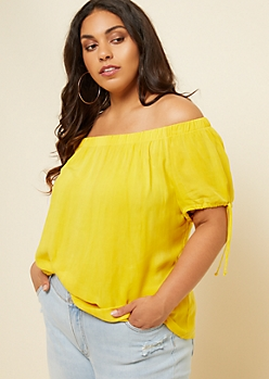 Plus Yellow Washed Off The Shoulder Tied Cuffs Top