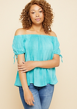 Plus Teal Washed Off The Shoulder Tied Cuffs Top