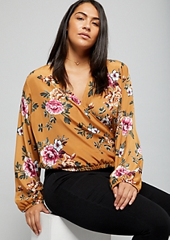 Plus Light Brown Floral Print Surplice Skimmer Blouse