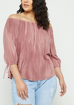Plus Pink Vintage Wash Off Shoulder Top