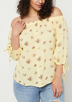 Plus Light Yellow Vintage Wash Off Shoulder Top