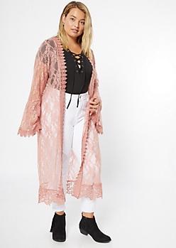 Plus Pink Lace Crochet Duster Kimono