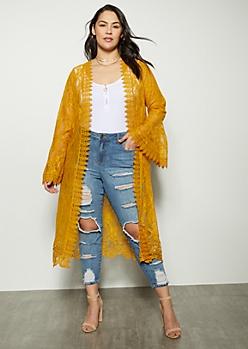 Plus Mustard Lace Crochet Duster Kimono